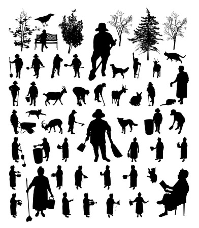 Black farmer women isolated silhouette set