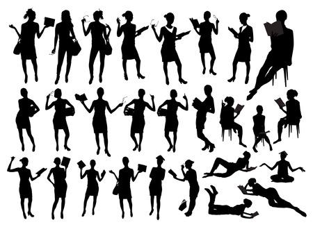 grandes femmes noires et blanches silhouettes de livres à colorier et l & # 39 ; école . groupe d & # 39 ; âge préscolaire des peuples