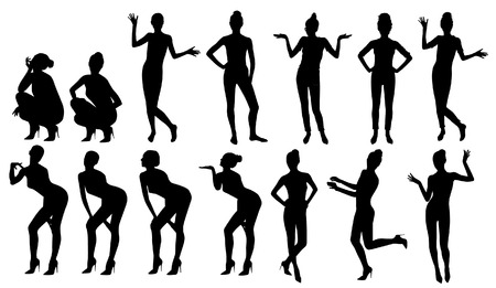 Black fashionable women silhouettes set Vectores