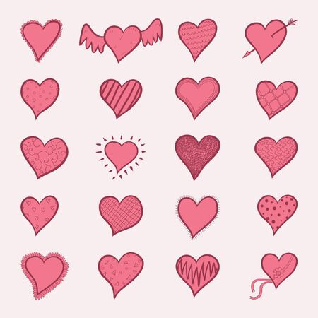 hand-drawn doodle red hearts sketchy set