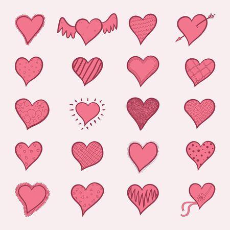 Doodle coeurs rouges dessinés à la main ensemble Banque d'images - 94022225