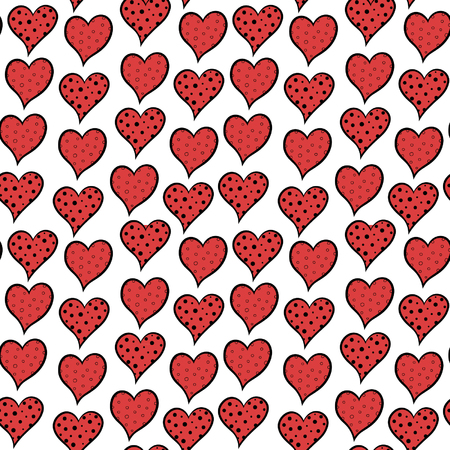 hand-drawn doodle seamless pattern with red hearts