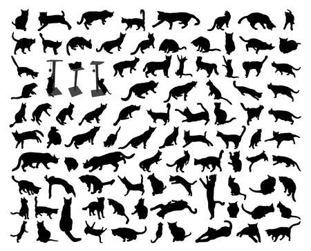 93 black isolated cat silhouette set 일러스트
