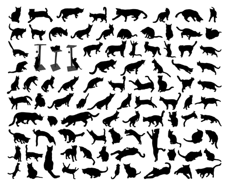 93 black isolated cat silhouette set Illustration
