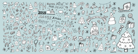 Big winter hand drawn sketch set. Christmas and New Year objects