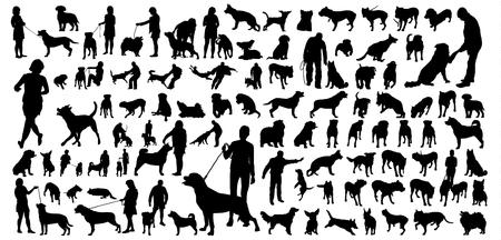 siluetas de personas y perros grandes establecen