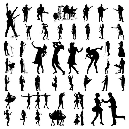 Big vector set of black musician silhouette Stock Illustratie