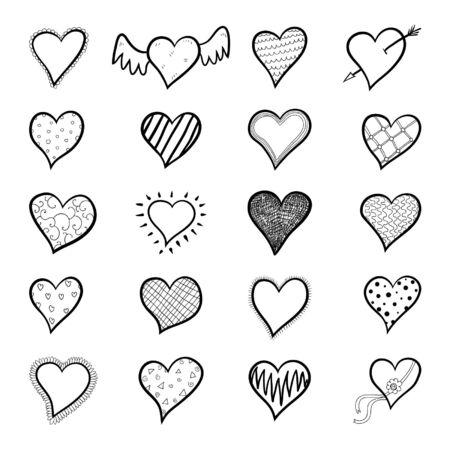 hand-drawn doodle hearts sketchy set