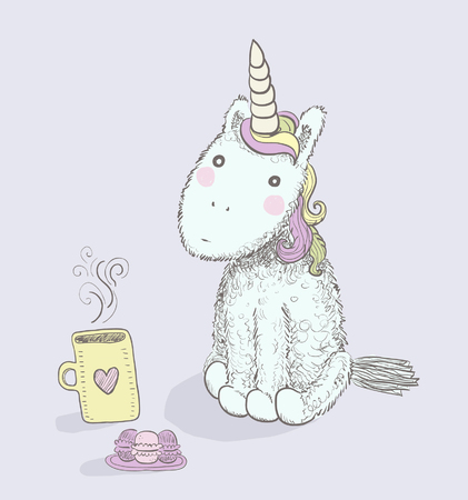 A hand drawn colorful cute unicorn with wonderful hair and a hot cup of tea and a plate of macaroons