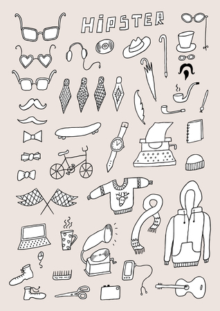 Hand draw hipster objects sketch set
