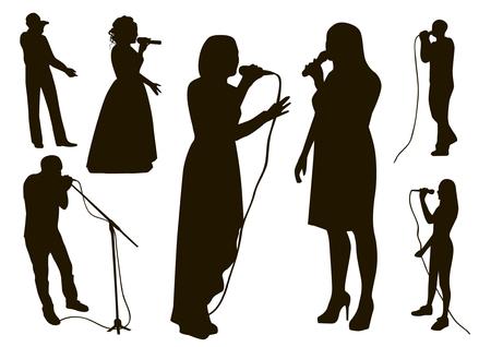 Black singing people silhouettes set