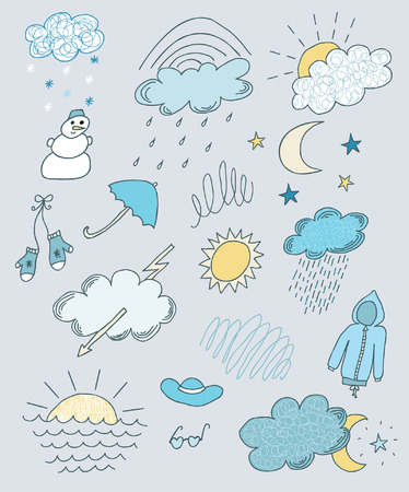 Weather hand drawn sketchy set Ilustracja