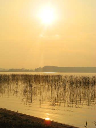 lake shore: Morning sun on the lake shore Stock Photo