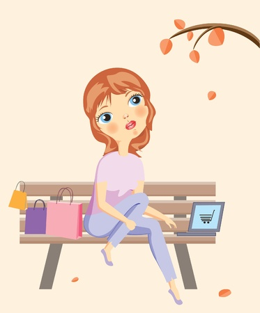 girl using laptop:   Vector illustration of a girl shopping online Illustration