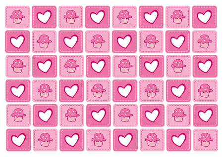 background birthday pink cupcakes Vector