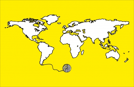 Map World Draw Yellow Background Royalty Free Cliparts, Vectors, And ...