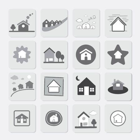 Vector Icon Grey Houses