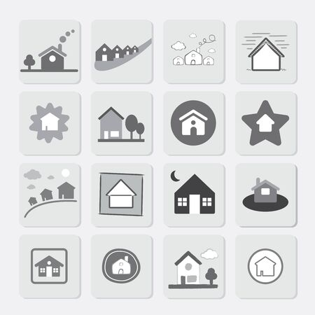 homelessness: Vector Icon Grey Houses
