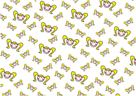 sweet sixteen: Vector Girl Smile Face Pattern Background