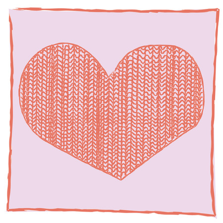 Vector valentines heart with wool fabric