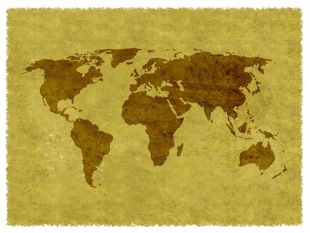 World map on grunge background Stock Photo