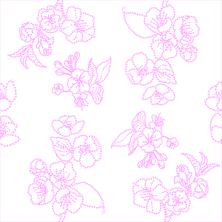unobtrusive floral Wallpaper, pink flowers on white background, seamless texture