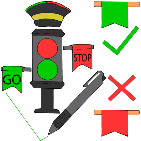 semaphore green light, red light, pen, positive and negative rating, working condition, certification, tick and cross