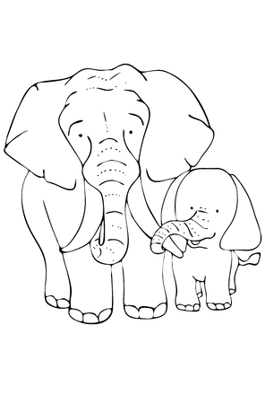 Children and parents in the animal world.Elephants.Cute elephants in cartoon style.Coloring.