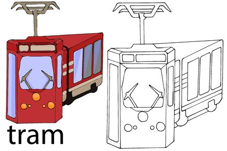 The tram in the Italian language.Vector image by hand.Only lines and color.