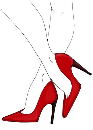 Hand drawing.Slender female legs in high heels.