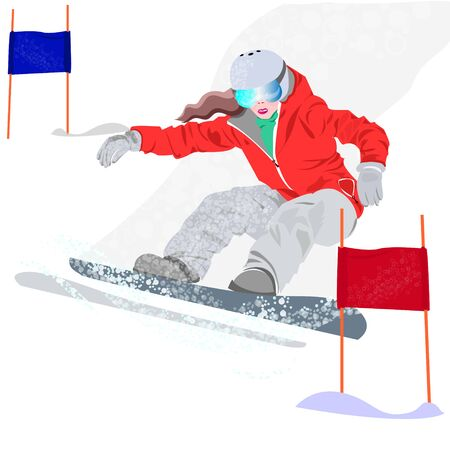 Extreme Winter Sport.Mountain skiing.Extreme SnowboardVector Illustration