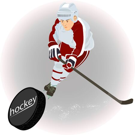 A hockey player in a red and white uniform scores a goal, vector illustration.