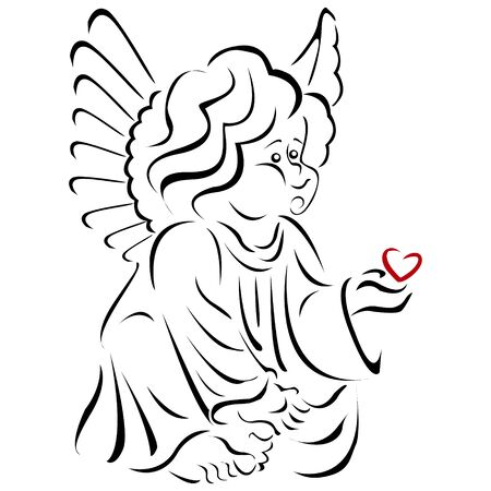 Angel with a red heart, only the outline, on a white background.Element for your design of greeting card for Valentines day.