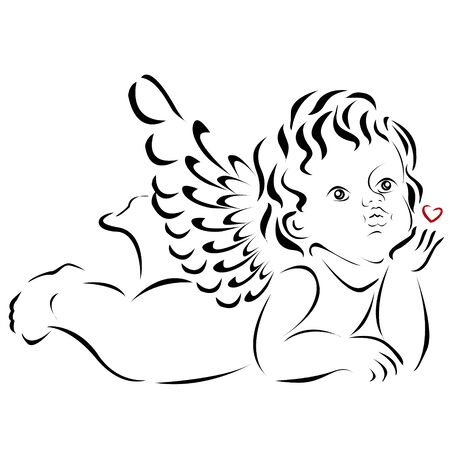 Angel with a red heart, only the outline, on a white background.Element for your design of greeting card for Valentine's day.