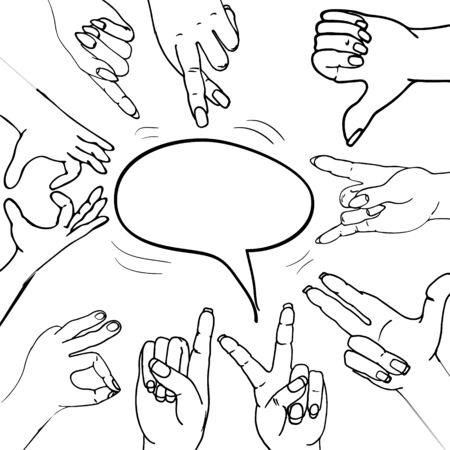 fashionable hand gestures for young people with meaning.hand-drawn.