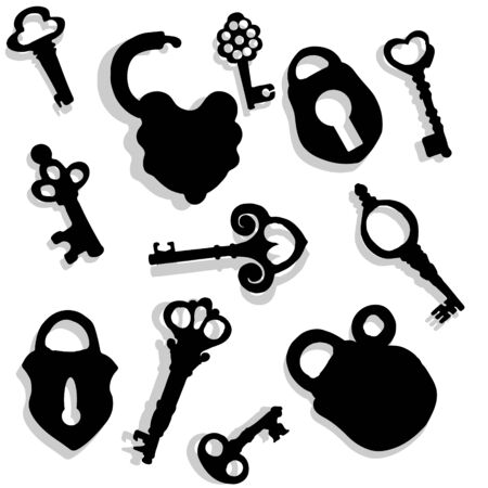 Vector illustration of keys and locks with shadow on a light gray background