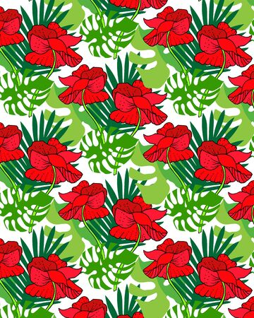 Floral pattern with big bright flowers.Summer vector illustration for print textile,fabric,wrapping paper.