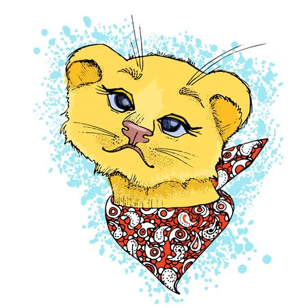 Lion cub with a bandana on his neck and background in the form of a blue blot.
