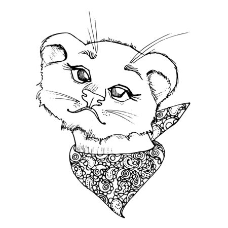 Lion cub with a bandana on the neck. Black and white illustration.
