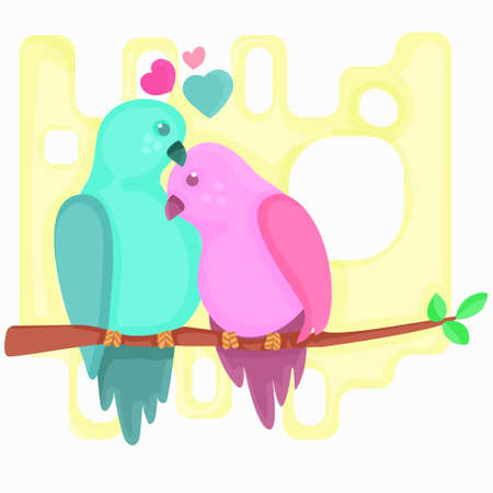 two romantic birds sitting on the tree. Valentine's day card