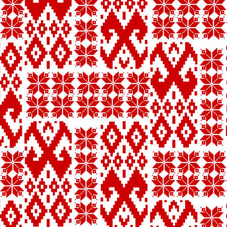 Red patterns on a white background. Elements of the ornament of the Belarusian flag