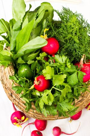 Fresh tasty sorrel, dill and radish in a wicker basket on white wooden background photo