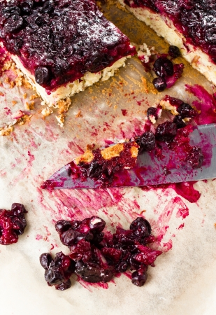 Sweet tasty currant cherry pie with powdered sugar  photo