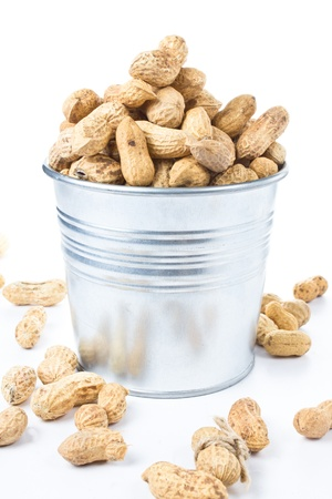 earth nut: Raw shelled tasty big peanuts in a bucket on white background, closeup  Stock Photo