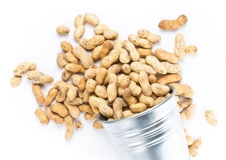 earthnut: Raw shelled tasty big peanuts in a bucket on white background, closeup  Stock Photo