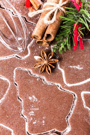 festive food: Christmas Gingerbread, cookie spices cinnamon and anise star. Christmas festive food, top view, closeup. Stock Photo