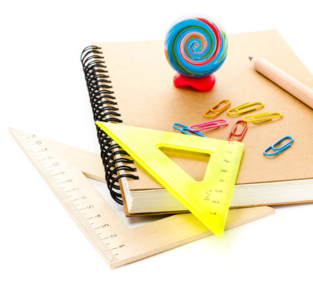 art supplies: Back to school supplies with notebook. Schoolchild and student studies accessories.