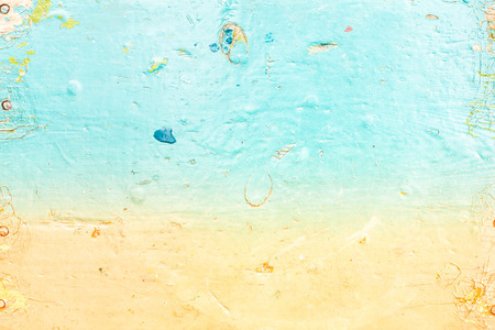Abstract sea water textured background in old grunge style. Blue and cyan color oil paints background.