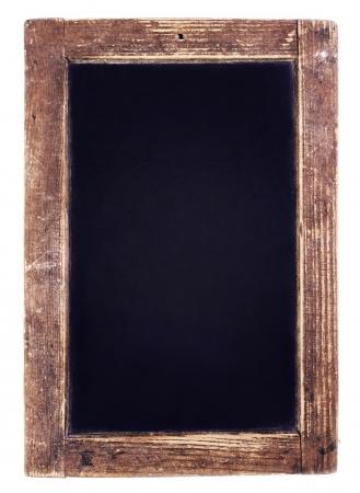 白い背景にビンテージの黒板。コピー スペースで空白のチョーク ボード