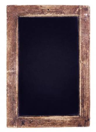 Vintage blackboard on white  background. Blank Chalk board with copy space Stock Photo
